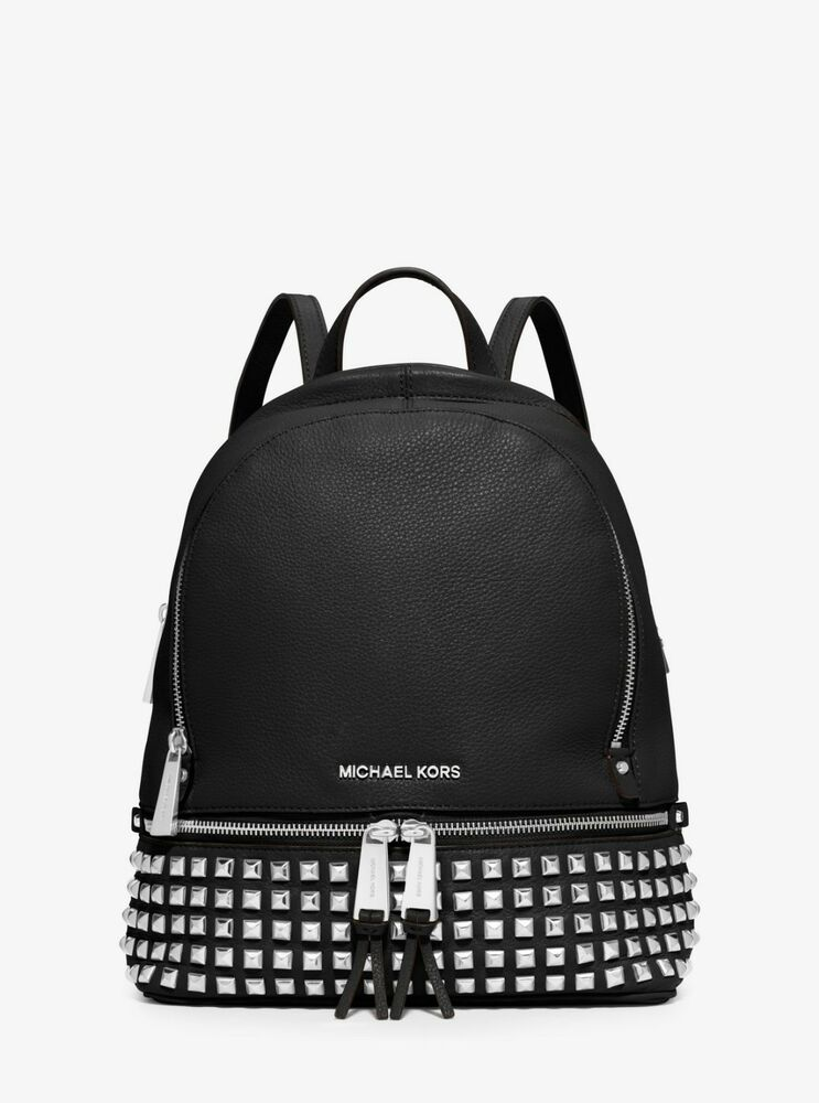 Details about MICHAEL MICHAEL KORS Rhea Small Studded Leather Backpack c4988f5c97aac