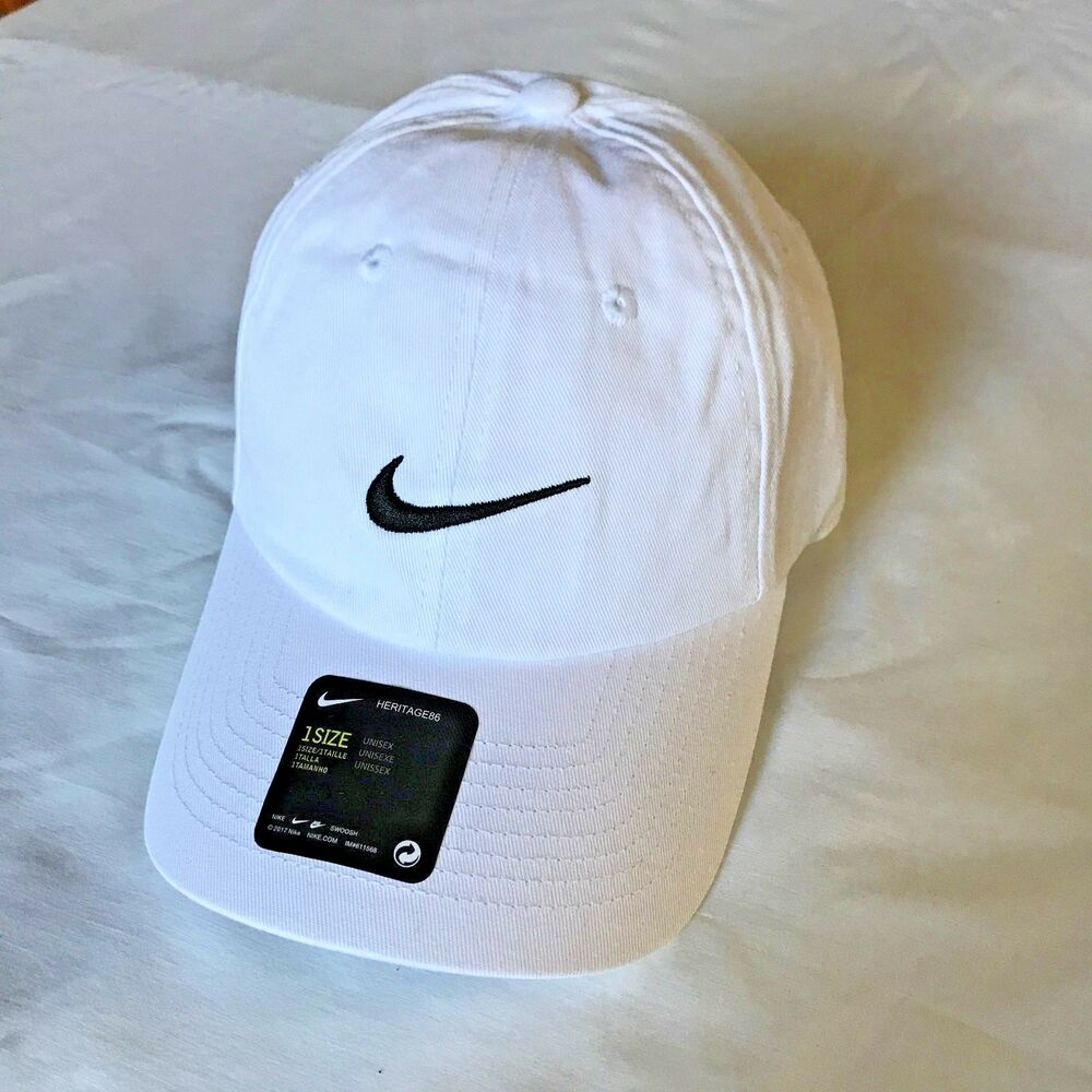 a1d87e19efc6 Details about NEW Nike Heritage 86 Golf Hat White w black stitching One  Size adjustable