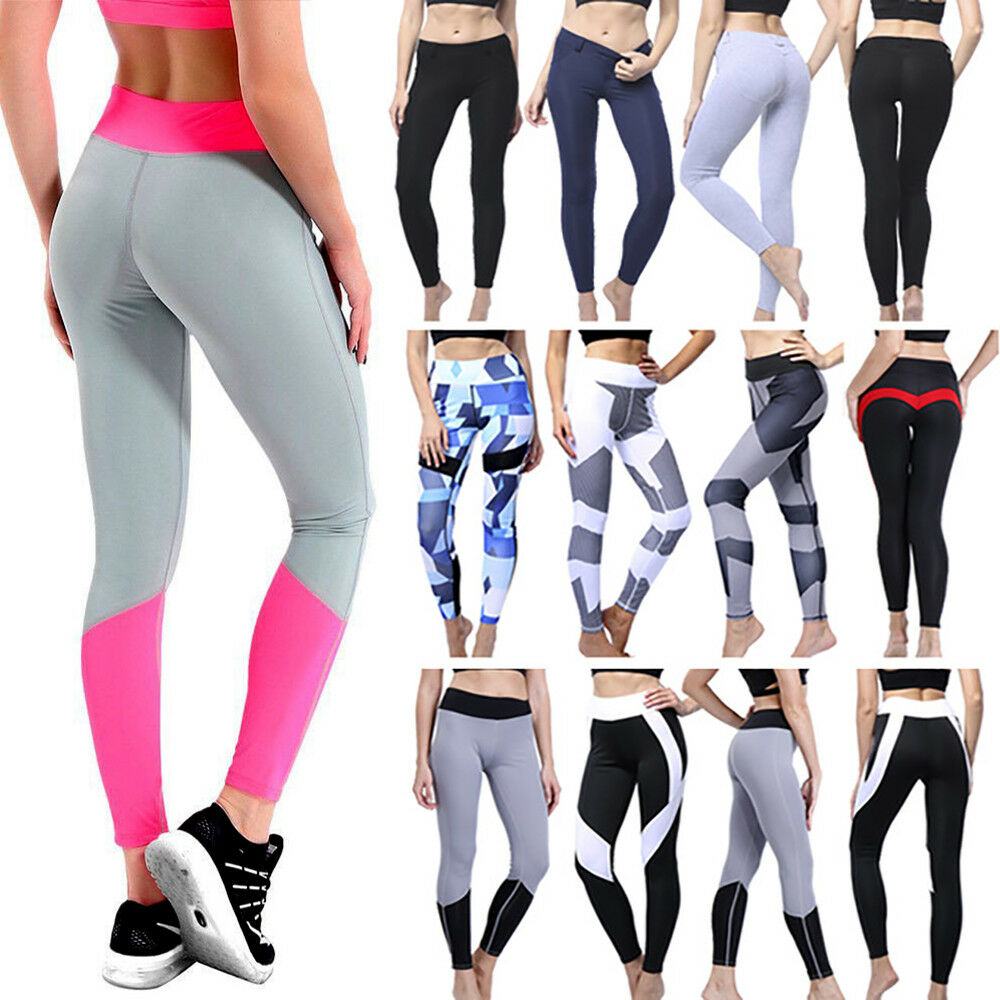 9378d5a01389a Details about Women Yoga Pants Sports Exercise Tights Fitness Running  Jogging Slim Trousers JF