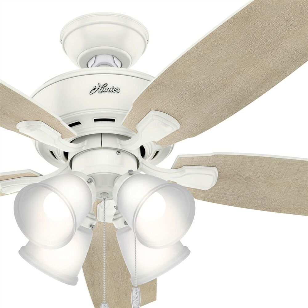 Details About Hunter Fan 52 Inch Fresh White Casual Ceiling With 4 Dimmable Led Lights