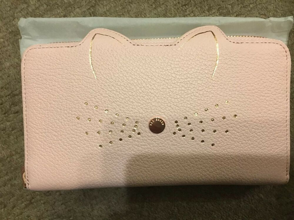 81124ffbba6759 Bnwt Genuine Ted Baker Serini Pale Pink Leather Purse Cats Whiskers Zip  Around