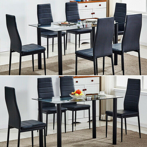 Tempered Glass Dining Table Set And 4/6 Faux Leather