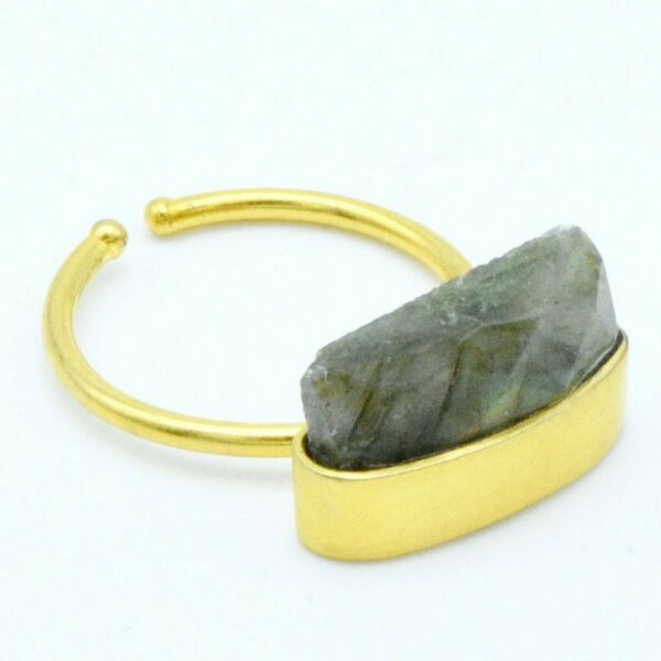 Aylas Stackable Labradorite ring- Gold plated semi precious gemstone - Handmade