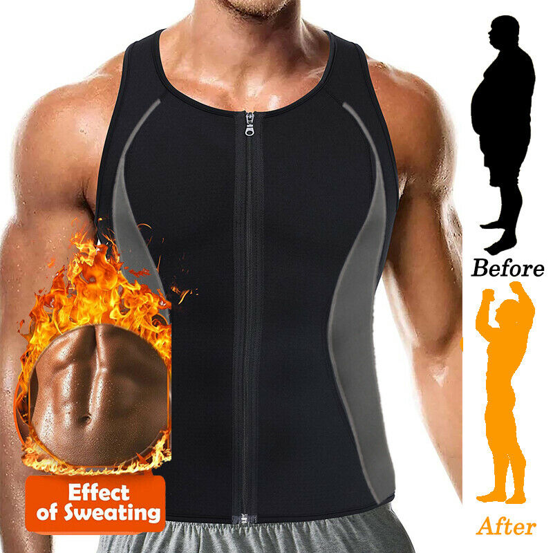 a356159a42 Details about Men s Sauna Sweat Vest Body Shapewear Thermo Waist Trainer  Gym Workout Top Shirt