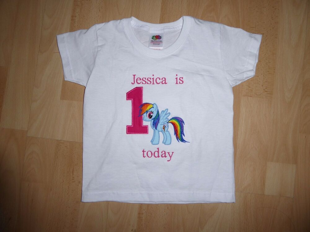 Details About Personalised Embroidered My Pony First 1st Birthday Boy Girl T Shirt Kids