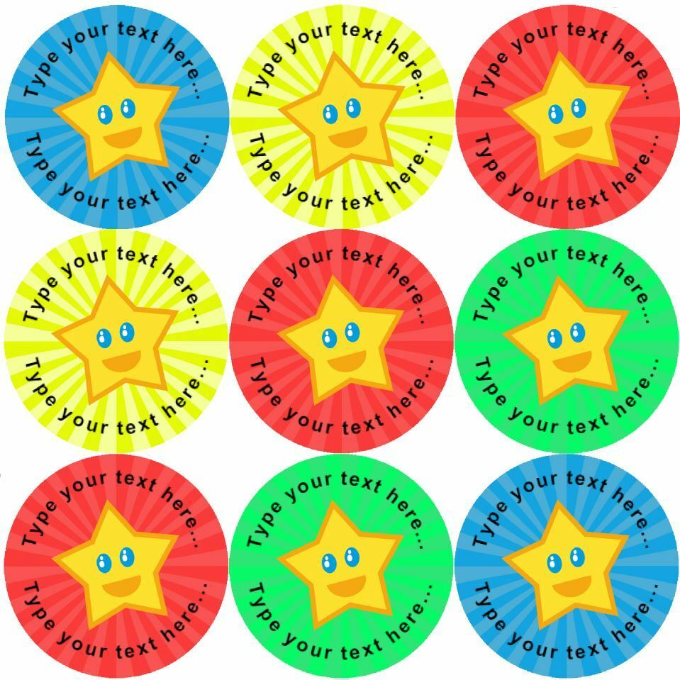 Details about 144 happy star personalised 30 mm reward stickers for school teachers nursery