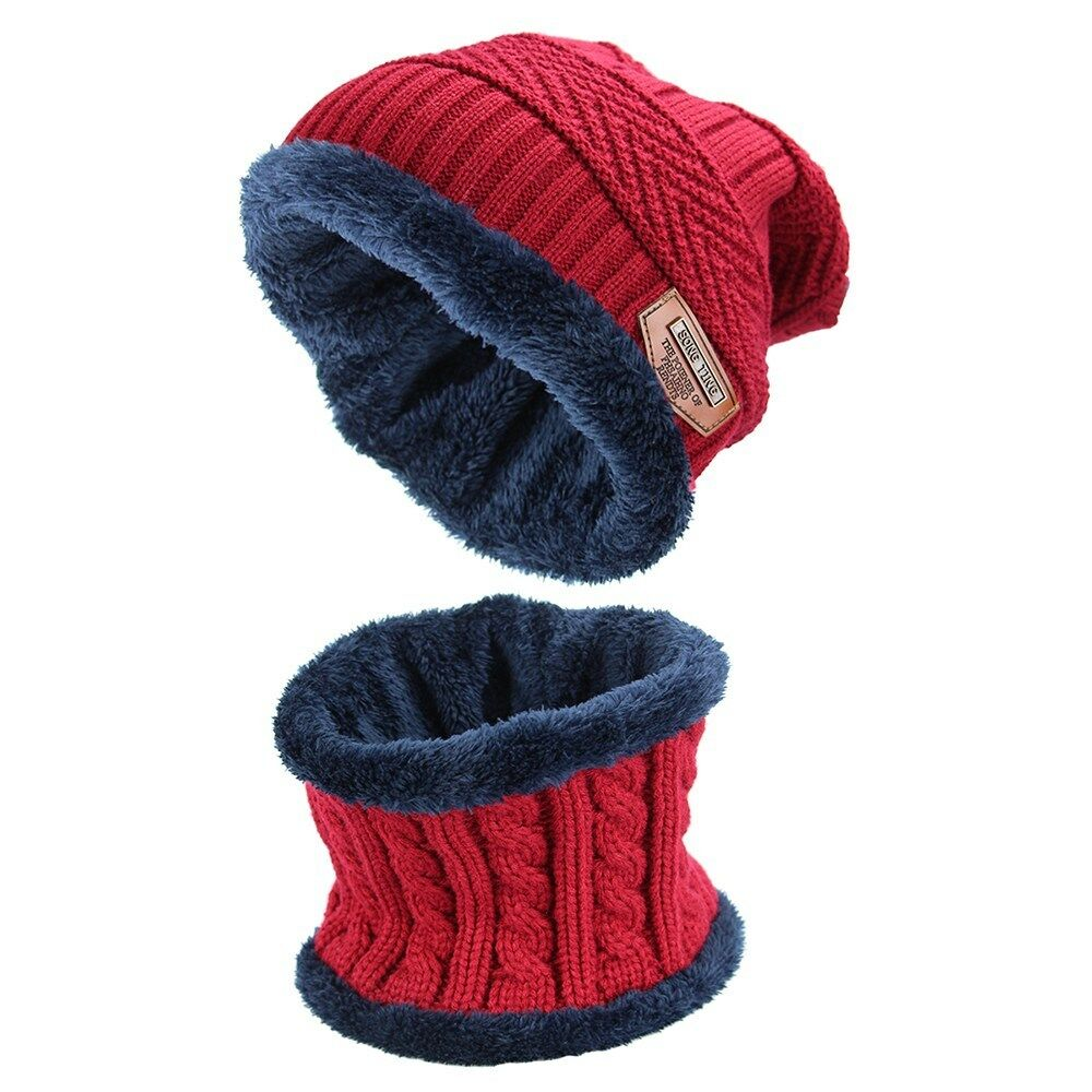 ec294b0304a 2pcs Men s Winter Beanie Hat Scarf Set Warm Knitted Skull Cap with Scarf