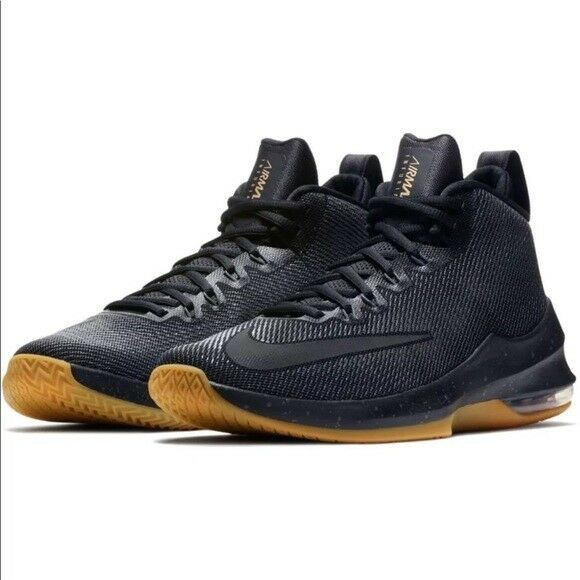 67936b92a8d7 Details about NIB MENS NIKE AIR MAX INFURIATE MID PRM BLACK ATHLETIC  BASKETBALL SHOES