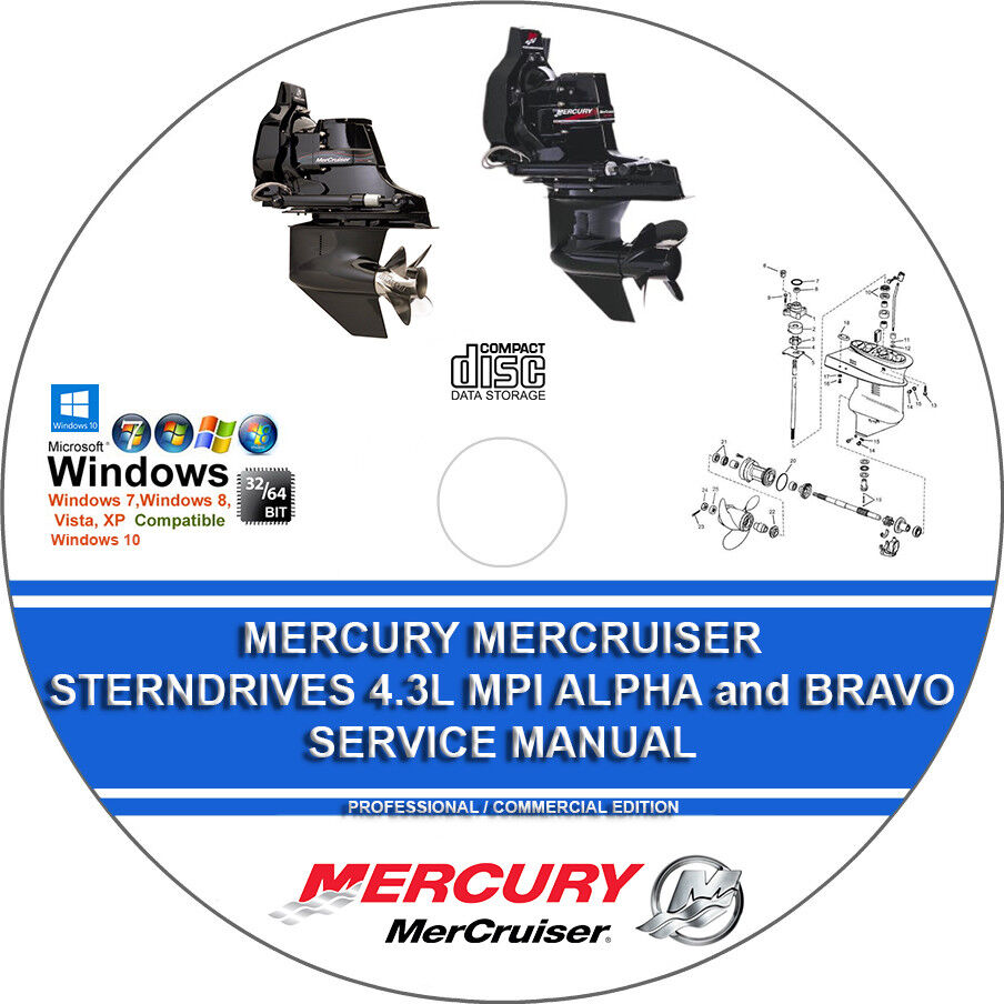 Mercury Mercruiser Sterndrives 4.3L MPI Alpha and Bravo Service Repair  Manual CD | eBay