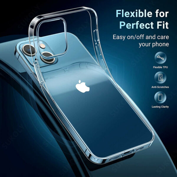 For iPhone XR XS Max X 8 7 Shockproof 360° Silicone Protective Clear Case Cover