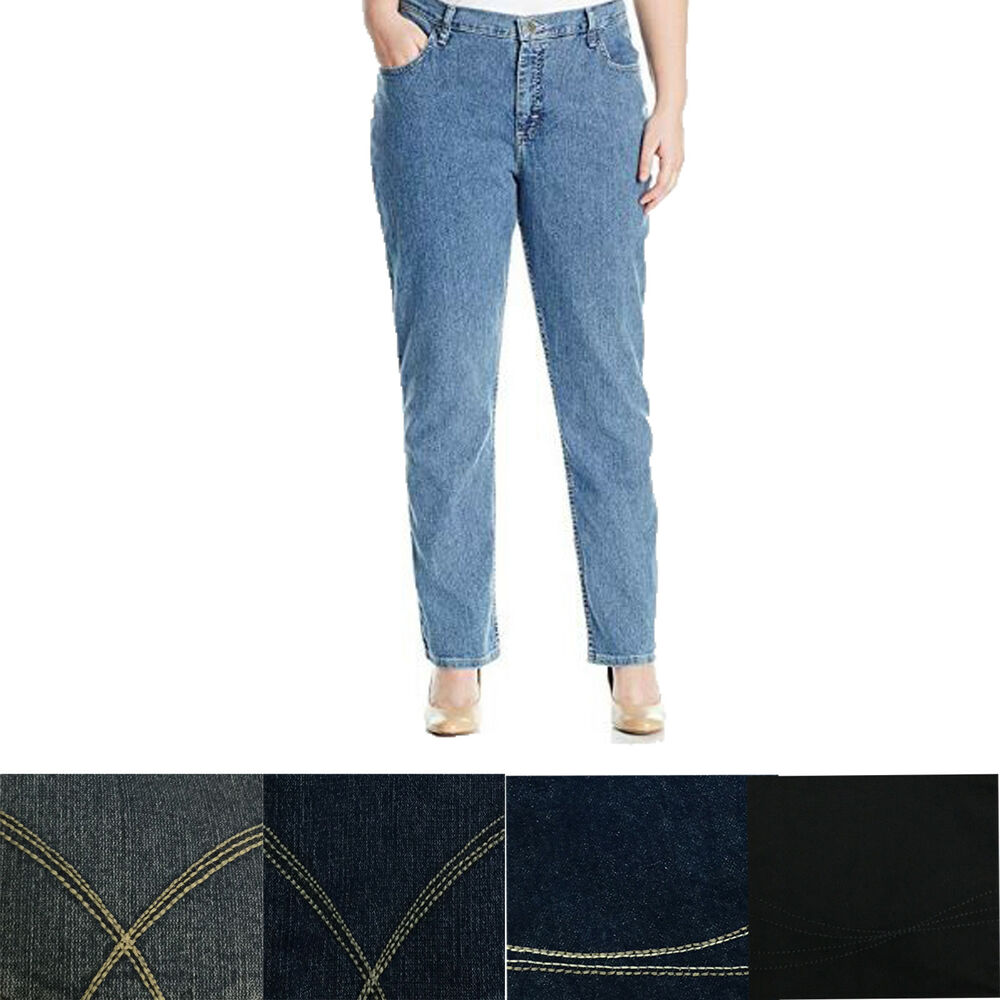7279bd8a6ff Details about Lee Riders Women s Irregular Plus Indigo Relaxed Fit Straight  Leg Denim Jeans