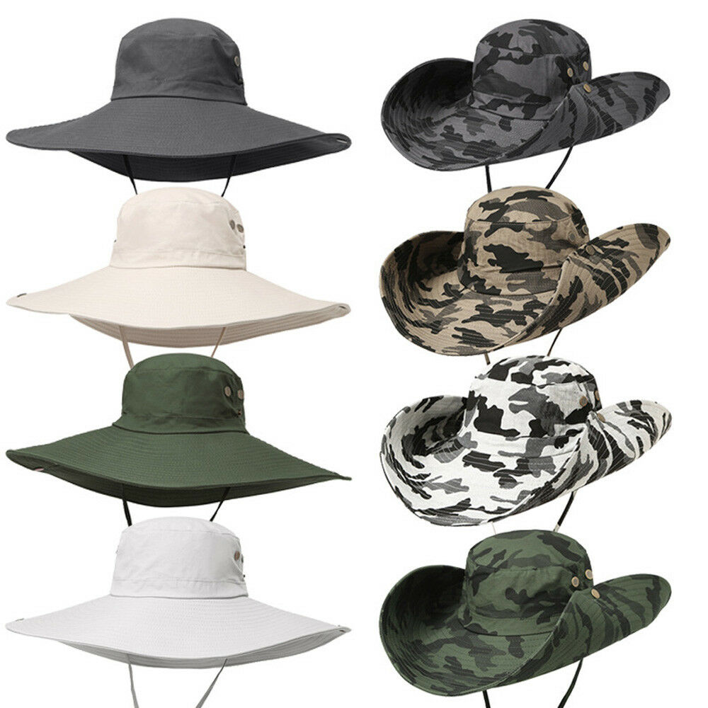 Details about Men Quick Dry Wide Brim Bucket Hat Summer Outdoor Sun  Protection Hat Fishing Cap 43b6254489f