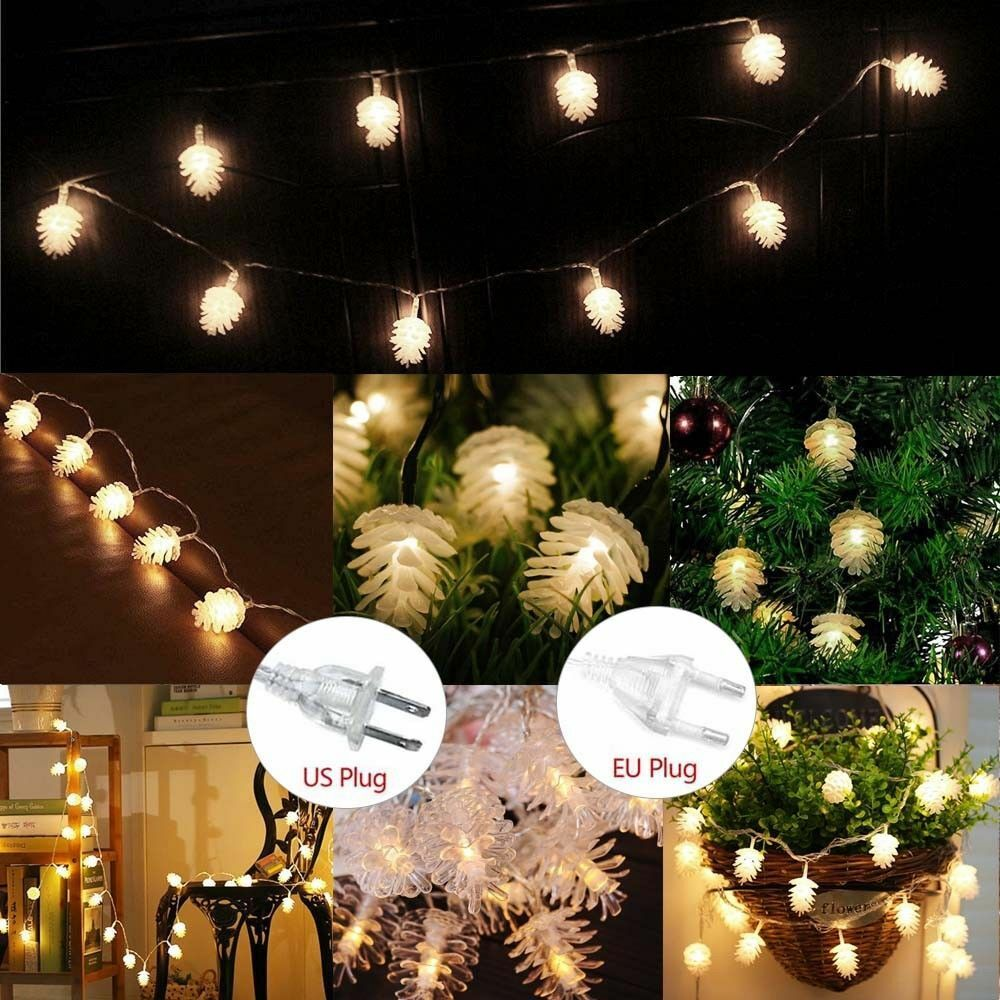 Details About 10 160 LED Christmas Pine Cone String Lights Outdoor Indoor  Decor Wedding Party
