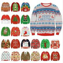 Mens Womens UGLY Christmas Sweater Tops President Trump Xmas Pullover Knitted