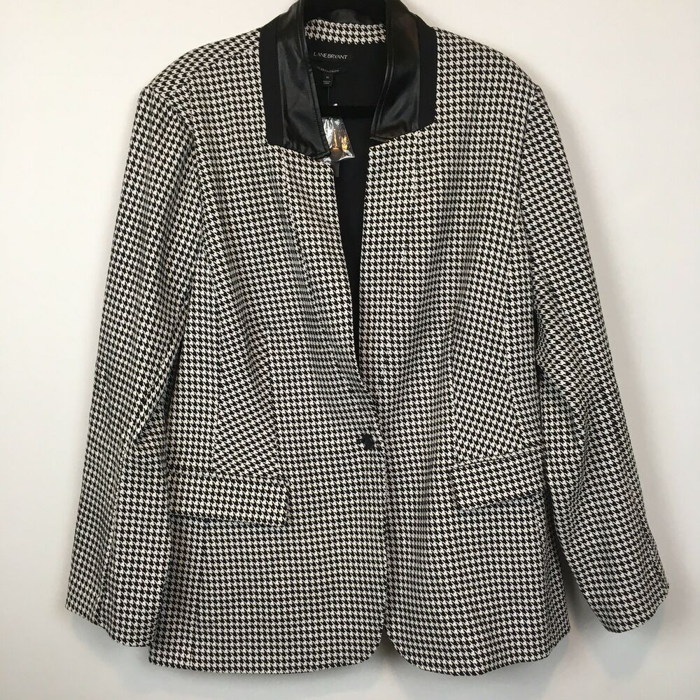 632b0ad3736 Details about Lane Bryant Womens Black and White Houndstooth Check Blazer  Jacket Size 26 New