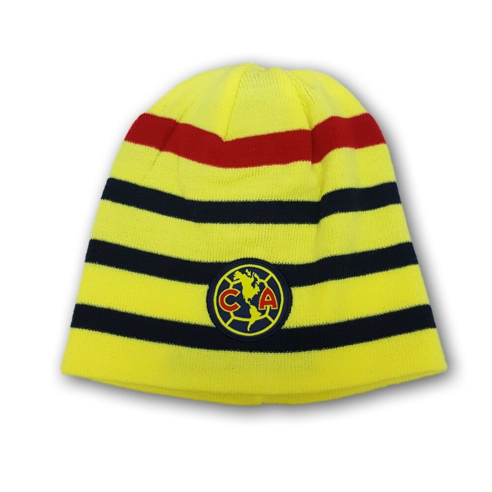 726dc8db699 Details about Club America Soccer Team Fitted Beanie One Size Fits Most  Yellow With Stripes