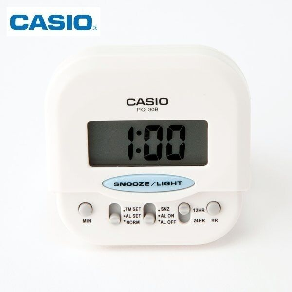 01dabf589775 Details about Casio PQ-30B-7DF Pocket Travel Alarm Beep White Clock Snooze  PQ-30 White