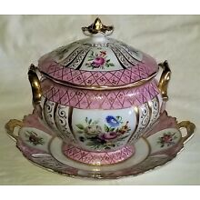 covered Tureen w/ Tray, German/French porcelain, gilt, roses, tulips, 19thC, 11w