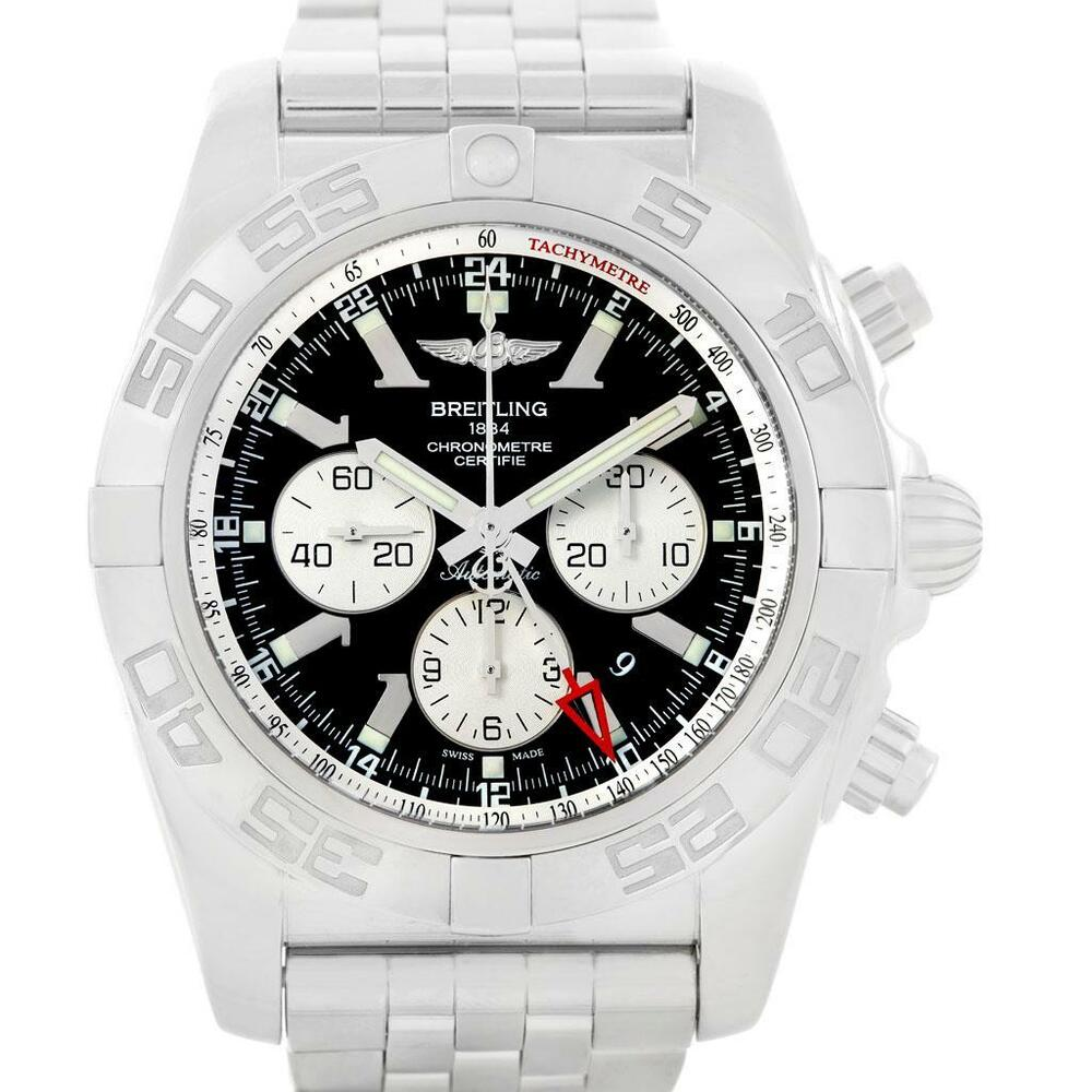 ac9cdc366cf Breitling Chronomat GMT Steel Black Dial Mens Watch AB0410 Box Papers