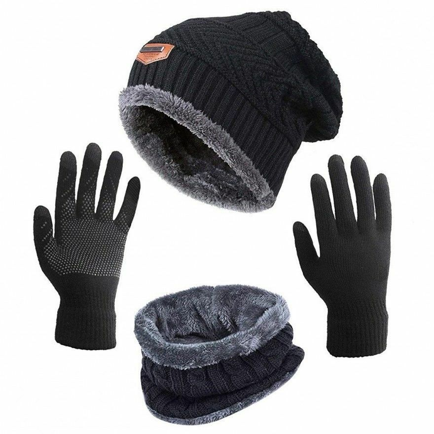 b0ae638a Details about Snow Hats For Women Beanie Gloves Knitted Winter Hat Scarf  and Gloves Set Best