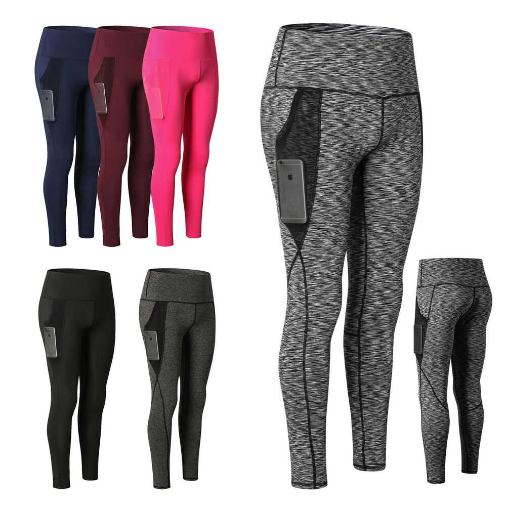 f208f5b239 Details about Women's High Waist Yoga Pants With Pocket Tummy Control  Running Workout Leggings