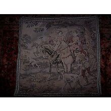 Antique Old Tapestry Textile Hunting Scene Pillow Cover Decorative Trim 22
