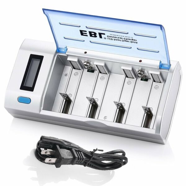EBL Universal Smart Rechargeable Battery Charger For Ni-MH Ni-Cd AA AAA 9V C D