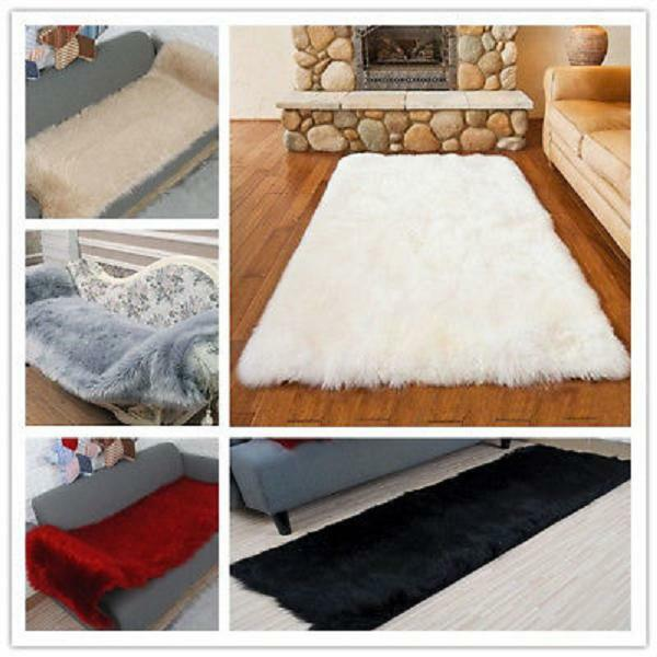 846a7478759 Details about Faux Sheepskin Fur Area Rugs Soft Fluffy Wool Carpet Bedroom  Living Room Mat