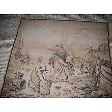 Antique Tapestry Textile Weaving Fishing Village 48x48