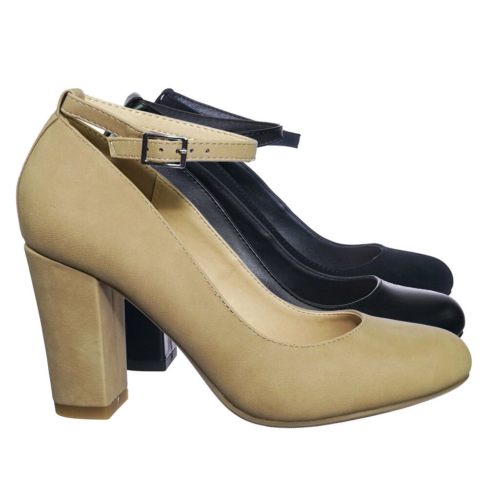 267aaa36b586 Details about Smith Comfortable Foam Padded Block Heel Round Toe Dress Pump  w Ankle Strap