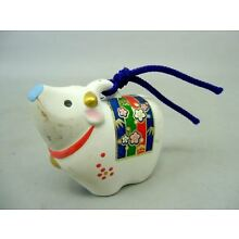 Japanese Clay Bell Vtg Dorei Hand Painted Cow Zodiac Lucky Ceramic DR26