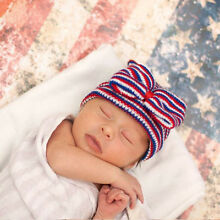 Lacy Bella Baby Girls Newborn Soft Red White and Blue Hospital Hat Beanie Bow