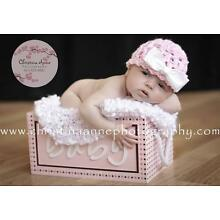 Lacy Bella Baby Newborn It's A Girl Crochet Beanie Pink White Hat with Bow