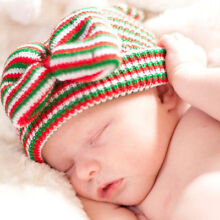 Lacy Bella Baby Girls Newborn Christmas Holiday Hospital Hat Beanie with Bow