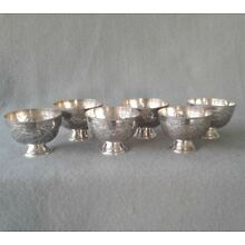 Set of 6 Vintage Egyptian 900 Silver Cairo Handcrafted Footed Wine Cups