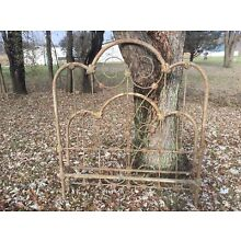 Antique Vintage Fancy Full Size Iron Bed 54