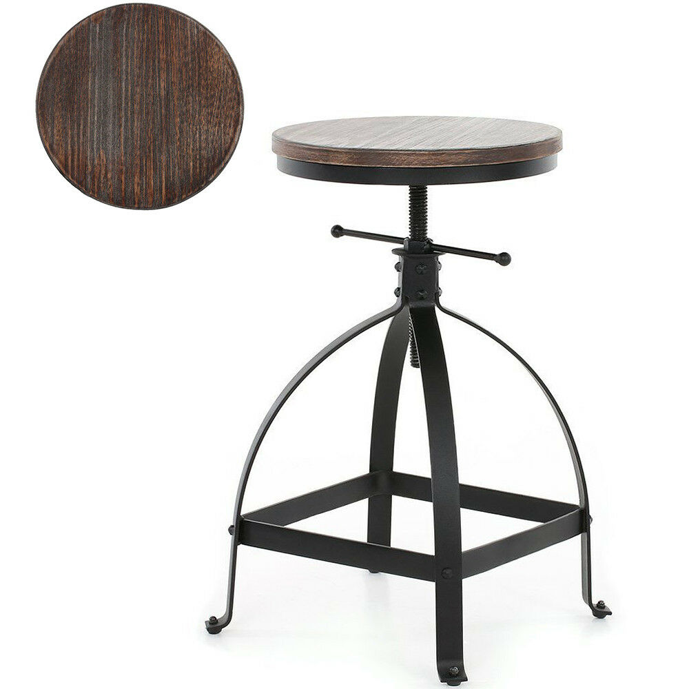 Details About Rustic Bar Stool Swivel Wood Seat Kitchen Coffee Chair Height Adjule Black