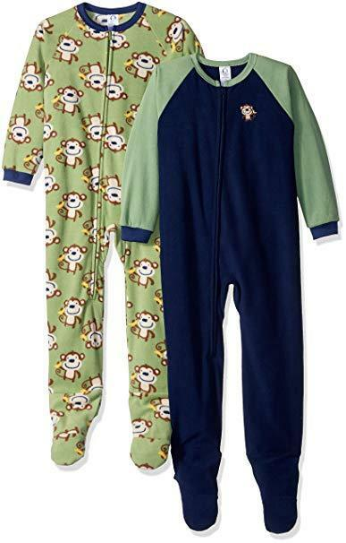 5de75a7489 Details about NWT Gerber Baby and Little Boys  2 Pack Blanket Sleepers  (Monkey Around) 4T