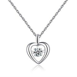 Espere Sterling Silver Rhodium Plated Dancing CZ Heart Necklace