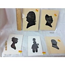 5 Antique hand Cut Paper Silhouette GEORGE WASHINGTON UNFRAMED STORE STOCK