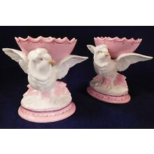 Antique Pair of Old Paris Porcelain Figural Sweetmeat Dishes, Bird & Eggshell