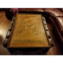 HUGE FRAMED Antique Relief Map of Asia 1893 - Plaster & Gauze - Made in Chicago