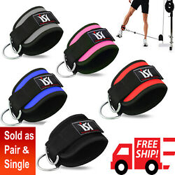 Gym Exercise Ankle Straps Weight Lifting Fitness D Ring Cable Attachment Strap