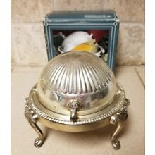 International Silver Roll Top Lions Head Butter Dish Serving Bowl Silver Plated