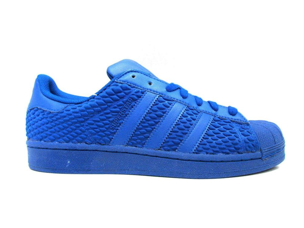 separation shoes 567f3 6c382 Details about Mens ADIDAS SUPERSTAR Royal Blue Textile Leather Trainers  AQ3050