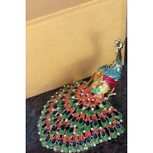 Chinese Cloisonne Inlaid Rhinestone Peacock Statue Jewelry Box ( decor)