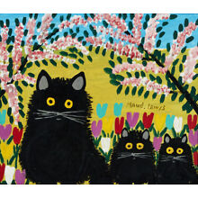 Three Black Cats by Maud Lewis   Paper Print Repro