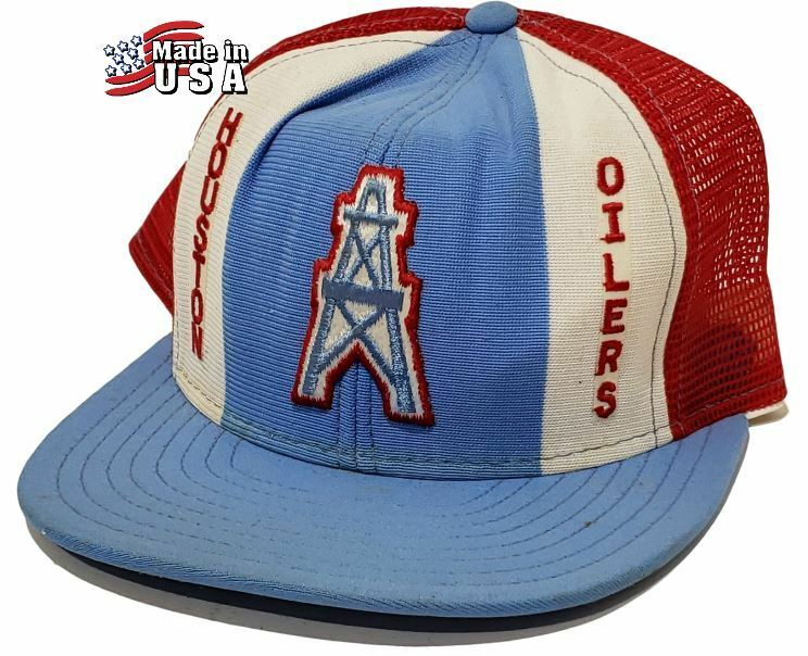 613c2198be3 Details about Vintage 1960 s HOUSTON OILERS Snapback Mesh Trucker Hat RARE  Lucky Stripes