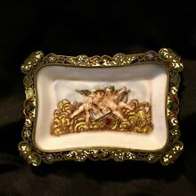 ANTIQUE FRENCH BRONZE ENAMEL TRAY WITH HAND PAINTED PORCELAIN  DECORATION