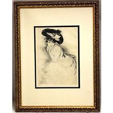 Paul Cesar Helleu X-RARE Signed Etching Numbered 4/10 Provenance